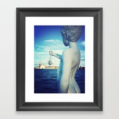 A kid and a frog in Venice Framed Art Print