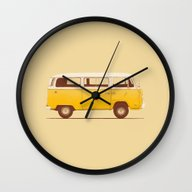 Wall Clock featuring Yellow Van by Speakerine / Florent…