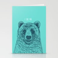 Stationery Cards featuring I Like You (Bear) by Rachel Caldwell