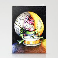 Green Drummer Crazy Mask Stationery Cards