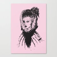 Veiled Lady on Pink Canvas Print