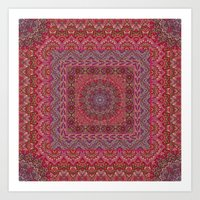 Farah Squared Red Art Print