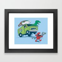 DinoLatte Run Down Framed Art Print