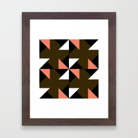 Pink, white & brown triangle motif Framed Art Print