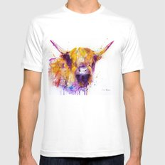 Highland Cow  SMALL Mens Fitted Tee White