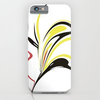 iPhone Cases featuring Abstract Flower in Gold, Black, and Pink-Red by Jessielee