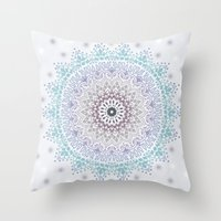 BLUE SUMMER MANDALA Throw Pillow