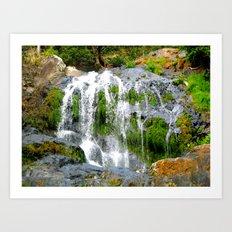 Waterfall over green rocks Art Print