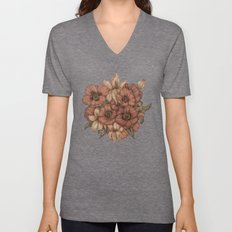 Poppies and Lilies  Unisex V-Neck