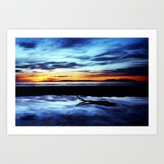 Reflections On Troon Beach Art Print
