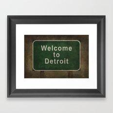 Welcome to Detroit highway road side sign Framed Art Print
