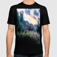 Mountain Sunrise Mens Fitted Tee Black SMALL