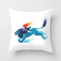 Lion Rider Throw Pillow