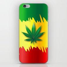 Cannabis Leaf on Rasta Colors Flag iPhone & iPod Skin