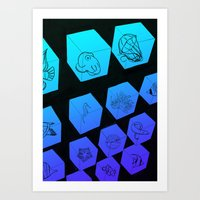 Sea Creature Cubes Art Print