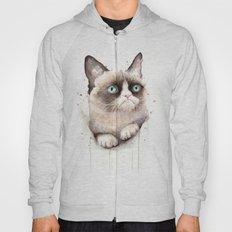 Grumpy Watercolor Cat Hoody