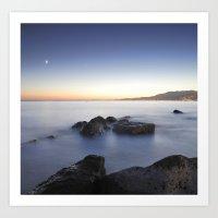 Venus and the moon over the sea  Art Print