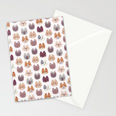 Cute Kitty Cat Faces Pattern Stationery Cards
