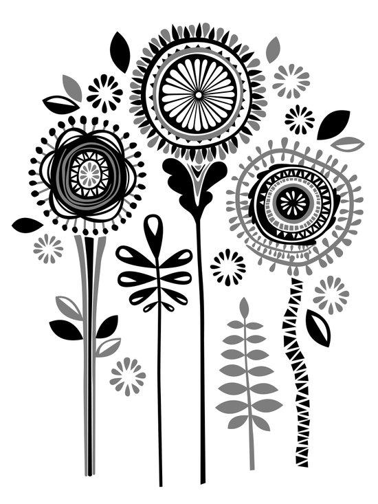 Folksy Flowerheads Canvas Print