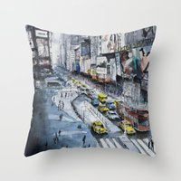 Time square - New York City - Illustration watercolor painting Throw Pillow