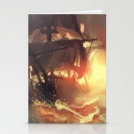 Stationery Cards featuring Ship At Dawn by Marta Milczarek