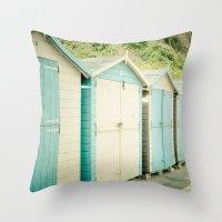 Duck Egg Blue and Cream Beach Huts Throw Pillow
