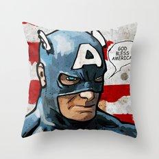 Captain America: God Bless America Throw Pillow