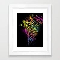 Zebra Mood Technicolor Framed Art Print