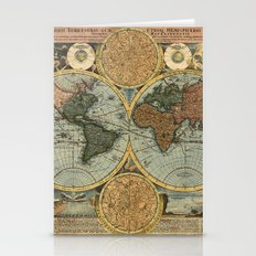 Old World Map Stationery Cards