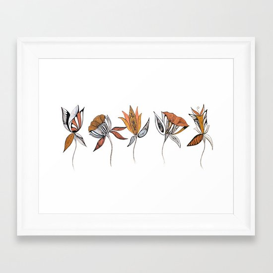 five flowers Framed Art Print
