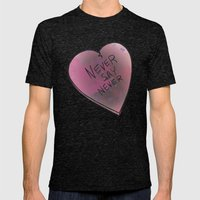 Never Say Never Mens Fitted Tee Tri-Black SMALL