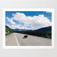 Black Bear Crossing Art Print