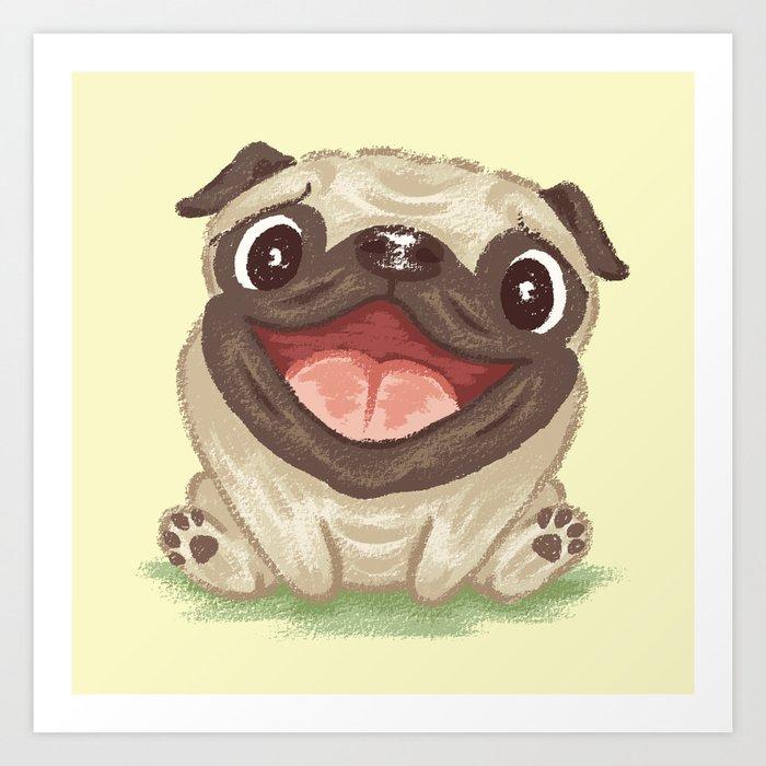 Sunday's Society6 | Art print of happy pug pup illustration