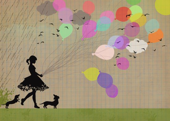 girl with balloons Art Print