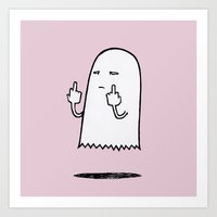 Double F-You Ghost (Pink) Art Print