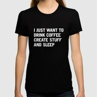 I Just Want To Drink Cof… Womens Fitted Tee Black X-LARGE
