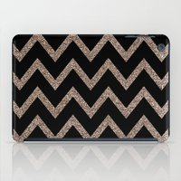 Black and Gold Glitter Chevron iPad Case