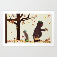 Autumn Bears Art Print