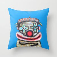Clown with small advertisement Throw Pillow