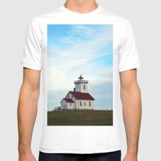 Wood Islands Lighthouse Compound White Mens Fitted Tee SMALL