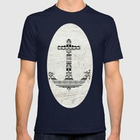 Aztec Nautical Anchor Black White Vintage Wood Mens Fitted Tee Navy SMALL