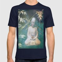 Buddha's awakening from deep meditation Mens Fitted Tee Navy SMALL