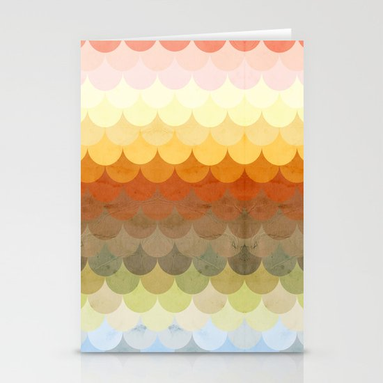 Half Circles Waves Color Stationery Card