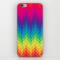 Neon Rainbow Flame Chevr… iPhone & iPod Skin