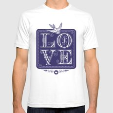 love type swallow SMALL White Mens Fitted Tee
