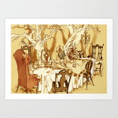 A Mad Tea Party: Setting Art Print