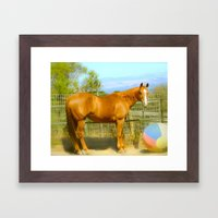A Horse and Her Ball Framed Art Print