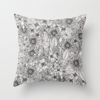 Pencil Flowers Throw Pillow