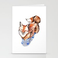 Smiling Red Fox in Blue Socks Stationery Cards