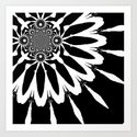 Black & White Modern Flower Art Print